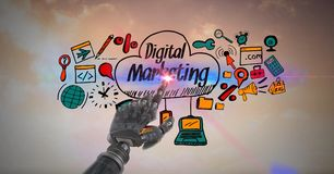 Digital composite image of robot touching screen with digital marketing sign and icons. Digital composite of Digital composite image of robot touching screen Stock Images