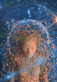 Digital composite image of scattered human figure Stock Photo