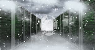 Digital composite image of servers and clouds Stock Image