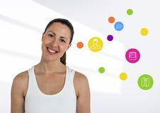 Digital composite image of smiling woman. Against white background Royalty Free Stock Photo