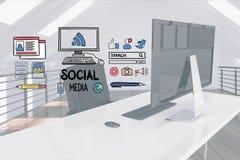 Digital composite image of social media signs over computer desk. Digital composite of Digital composite image of social media signs over computer desk Stock Photo