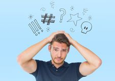 Digital composite image of a stressed man. Against blue background royalty free stock photography