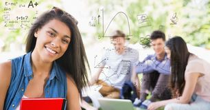 Digital composite image of student with math equations and friends. Digital composite of Digital composite image of student with math equations and friends Stock Photography