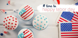 Composite image of digital composite image of time to happy labor day text Stock Photo