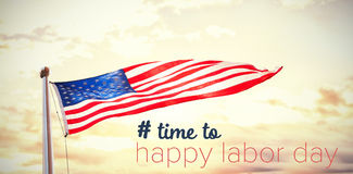 Composite image of digital composite image of time to happy labor day text Royalty Free Stock Photos