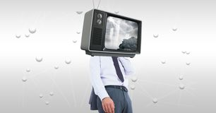 Digital composite image of TV on businessman`s head. Digital composite of Digital composite image of TV on businessman`s head stock photo