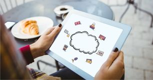 Digital composite image of woman holding tablet PC with cloud icon on screen. Digital composite of Digital composite image of woman holding tablet PC with cloud Stock Images