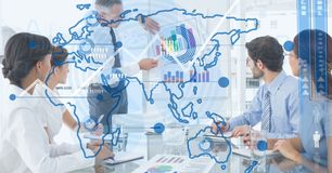Digital composite image of world map with business people in background Royalty Free Stock Photos