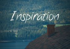 Inspiration text over forest roof by lake Royalty Free Stock Photos