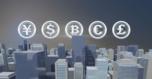 International Currency icons over 3D city buildings. Digital composite of International Currency icons over 3D city buildings stock illustration