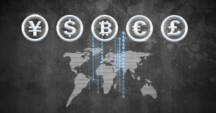 International Currency icons over world map with bitcoin code Royalty Free Stock Photos