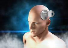 Key unlocking the surreal imagination of 3D mans head. Digital composite of Key unlocking the surreal imagination of 3D mans head Stock Photos