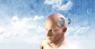 Key unlocking the surreal imagination of 3D mans head. Digital composite of Key unlocking the surreal imagination of 3D mans head Stock Images