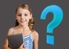 Kid Girl with Blue question mark. Digital composite of Kid Girl with Blue question mark Stock Photos