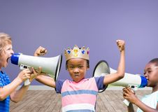 kids with crown with megaphones in blank room background stock images