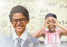 kids having fun with blank room background and math equations royalty free illustration