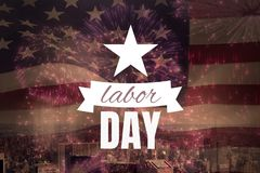 Labor day text over US flag. Digital composite of Labor day text over US flag Royalty Free Stock Photo