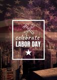 Labor day text over US flag. Digital composite of Labor day text over US flag Stock Photography