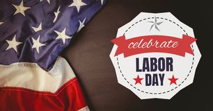 Labor day text over US flag Royalty Free Stock Photo
