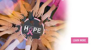 Learn more button with Hope text with breast cancer awareness women putting hands together royalty free illustration