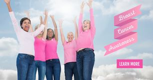 Learn more button with Text of Breast cancer awareness women with sky clouds background. Digital composite of Learn more button with Text of Breast cancer stock photo