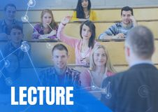 Lecture text and University teacher with class. Digital composite of Lecture text and University teacher with class Royalty Free Stock Photos