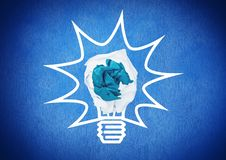 Light bulb with crumpled paper ball. Digital composite of light bulb with crumpled paper ball Royalty Free Stock Image