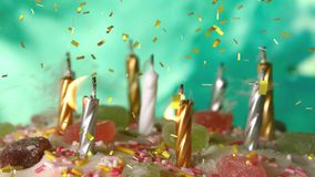 Candles on a birthday cake and confetti. Digital composite of lighted candles on a birthday cake being blown while gold confetti fall in the screen vector illustration