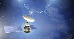 Lightning strikes and satellite with solar panels royalty free illustration