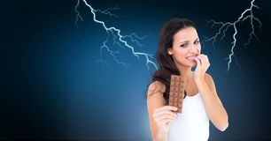 Lightning strikes and scared afraid woman with chocolate diet. Digital composite of Lightning strikes and scared afraid woman with chocolate diet Stock Images