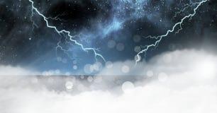 Lightning strikes in sky. Digital composite of Lightning strikes in sky Royalty Free Stock Photo