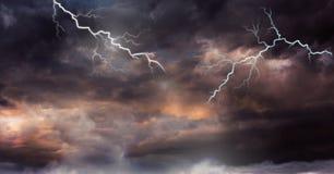Lightning strikes in sky. Digital composite of Lightning strikes in sky Royalty Free Stock Photography
