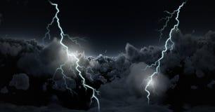 Lightning strikes in sky. Digital composite of Lightning strikes in sky Stock Image