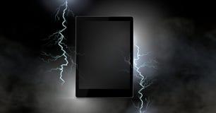 Lightning strikes and tablet. Digital composite of Lightning strikes and tablet Royalty Free Stock Photos