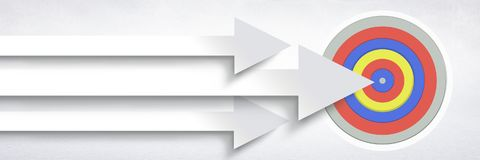 Long arrows pointing at target. Digital composite of Long arrows pointing at target Royalty Free Stock Images