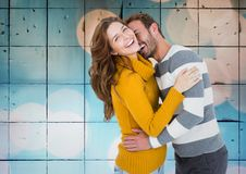 Digital composite of loving couple Royalty Free Stock Photo