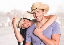 Digital composite of loving couple. On graphic background stock photos