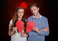 Digital composite of loving couple. On graphic background Stock Photography
