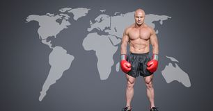 Male boxer with world map. Digital composite of Male boxer with world map royalty free stock image
