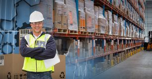 Man with boxes in warehouse, transition. Digital composite of man with boxes in warehouse, transition Stock Image
