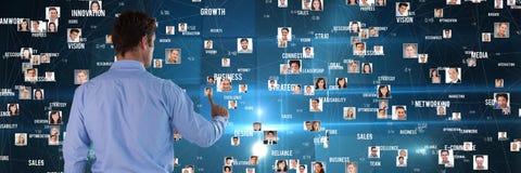 Man clicks user pictures. Digital composite of Man clicks user pictures Stock Images