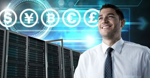 Man with computer servers and bitcoin technology information interface. Digital composite of Man with computer servers and bitcoin technology information royalty free stock photos