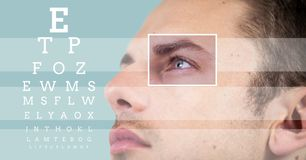 Man with eye focus box detail and lines and Eye test interface Royalty Free Stock Photography
