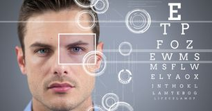 Man with eye focus box detail and lines and Eye test interface Stock Images