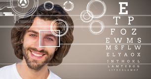 Man with eye focus box detail and lines and Eye test interface Royalty Free Stock Photo