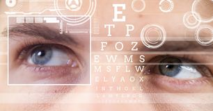 Man with eye focus box detail and lines and Eye test interface. Digital composite of man with eye focus box detail and lines and Eye test interface stock image