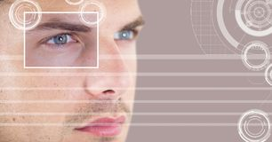 Man with eye focus box detail and lines interface. Digital composite of man with eye focus box detail and lines interface stock photo