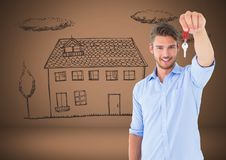 Man Holding keys with house home drawing in front of vignette Stock Photography