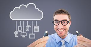 Man holding wire connection with cloud devices. Digital composite of Man holding wire connection with cloud devices Stock Photography