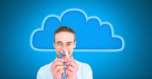 Man holding wire connection with cloud. Digital composite of Man holding wire connection with cloud Stock Photo